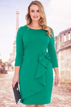 Vicky Waterfall Midi Dress in Emerald Green Dress Shorts Outfit, Dress Outfits, African Wear Dresses, Executive Fashion, Plus Size Gowns, Winter Coats Women, Dress With Bow, Winter Dresses, Curvy Fashion