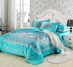 Find More Bedding Sets Information about Long staple cotton boho bedding set wholesale high quality comforter bedding set blue duvet cover set mediterranean bed set,High Quality bed quilt cover set,China bed cover Suppliers, Cheap bed lifter from Bang's Textile Factory  on Aliexpress.com