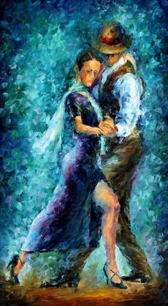 Tango Ii by Leonid Afremov Handmade oil painting reproduction on canvas for sale,We can offer Framed art,Wall Art,Gallery Wrap and Stretched Canvas,Choose from multiple sizes and frames at discount price. Shall We ダンス, Couple Painting, Music Painting, Painting Art, Blue Painting, Painting Abstract, Dance Paintings, Oil Paintings, Wow Art