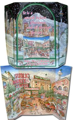 Pike Place Market Advent Calendar for the family that has everything! By Market artist Sarah Clementson. $25
