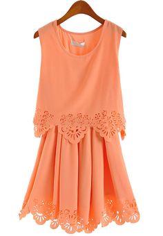 Sleeveless Hollow Pleated Chiffon Dress