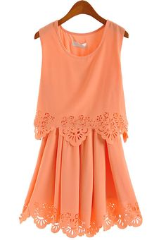 Pink Sleeveless Hollow Pleated Chiffon Dress