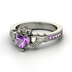 Claddagh Ring  Heart Amethyst Sterling Silver Ring