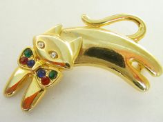 Vintage  Rhinestone Cat Brooch / Pin / Dangle Brooch / Pin /Cat Pin…