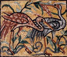 Flamingos Artistic Stone Made Marble Mosaic Decorative Mural