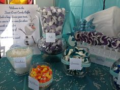 Frozen candy buffet for birthday parties! Disney Frozen Party, Frozen Birthday Party, Birthday Parties, Frozen Candy Buffet, Snowflakes, Table Decorations, Cake, Anniversary Parties, Birthday Celebrations