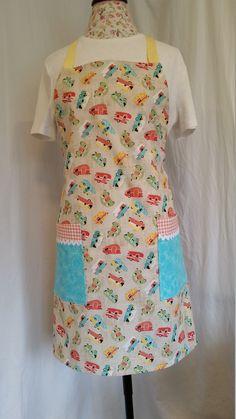 Retro trailer print adjustable apron with large pockets by NWCreativeKeepsakes on Etsy Work Aprons, Gardening Apron, Purpose, Pockets, Retro, Fashion, Moda, La Mode, Rustic