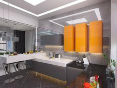 In der Küche erscheint einer der wenigen bunten platzt, mit freundlicher Genehmigung von hellorange schwimmende Schränke. Die dunkle Quarz-Arbeitsplatten rechts bieten ein erröten Kontrast zur Küche.