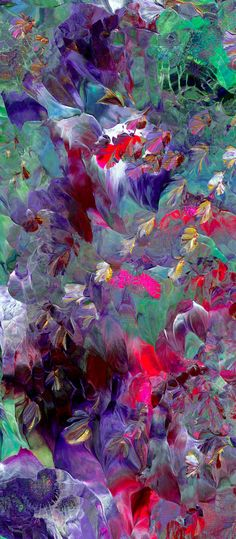 Original Painting Textured Space Flowers Modern by ArtByNanB