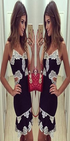 Sexy Hollow Out V-neck Lace Spliced Sling Dress