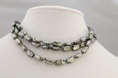 Vintage ROBERT DEMARIO 3 Strand Charcoal Beaded Necklace by amyrigs on Etsy