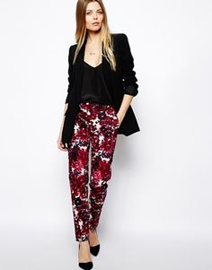 Image 1 of ASOS Trousers In Bold Floral Print