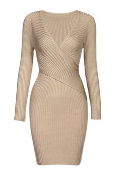 khaki Body-con Jumper Dress - US$27.95 -YOINS