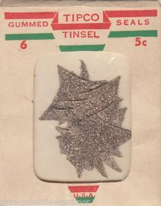 Glitter Christmas Tree Gummed Stickers 1940s Package Seal Scrapbook Crafts