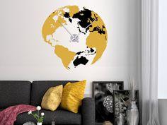 Wandtattoo Weltuhr in Schwarz-Gelb als kreative Wanduhr fürs Wohnzimmer. Die XXL-Uhr gibt es in vielen Farbkombinationen.