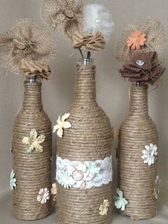 Twine wrapped Wine Bottles would make a great addition to your country-themed event! These bottles are decorated simply and rustically with twine