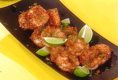 We used this Coconut Shrimp recipe from Rachael Ray with the Apricot Ginger dipping sauce. Great combo!
