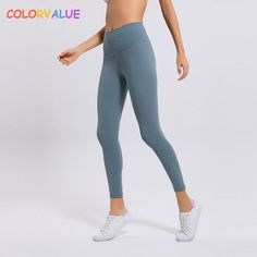 0941a6ac819fc3 US $21.65 5% OFF|Colorvalue Classical 2.0Versions Soft Naked Feel Athletic Fitness  Leggings Women Stretchy High Waist Gym Sport Tights Yoga Pants-in Yoga ...