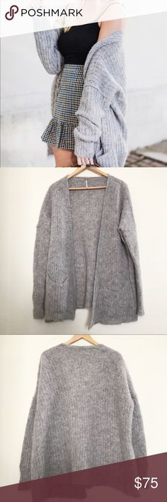 Free people Weekend getaway cardigan Free people Weekend getaway cardigan in the color gray. Super soft and loose knit cardigan. Oversized boyfriend fit. Pockets on the front. Perfect with any outfit. A bit fuzzy, but otherwise excellent condition! Size small.   ⭐️ Top-rated seller! 💌 All items ship same or next day 🎀 Free stickers with purchase  📩 All reasonable offers considered!  💖 15% discount on Bundles!  Feel free to ask questions. Happy poshing!! 💕 Free People Sweaters Cardigans