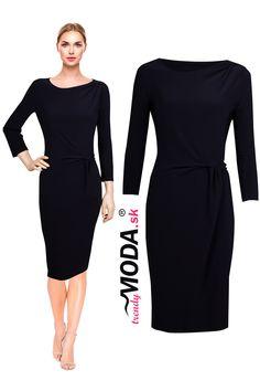 Rafinované puzdrové čierne dámske úpletové šaty využiteľné na spoločenské príležitosti, ale i na bežné nosenie. Dresses For Work, Fashion, Moda, Fashion Styles, Fashion Illustrations