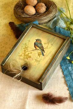 Шкатулки ручной работы. Ярмарка Мастеров - ручная работа Короб-пенал из сосны, Синяя птица. Handmade.