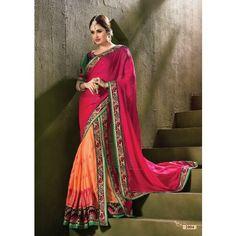 Classic Magenta And Peach Designer Saree #saree #sarees #designersaree #indianfashion #partywear #onlineshopping