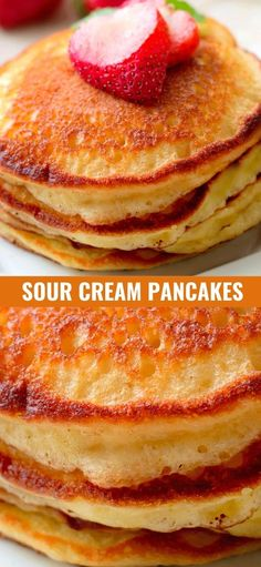 Best Breakfast Recipes, Savory Breakfast, Breakfast Items, Sweet Breakfast, Breakfast Dishes, Brunch Recipes, Brunch Ideas, Sour Cream Pancakes, Sour Cream Desserts