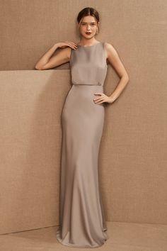 Beige Bridesmaids, Neutral Bridesmaid Dresses, Beige Dresses, Satin Dresses, Gray Dress, Gowns, Neutral Dress, Look Cool, Dress Brands