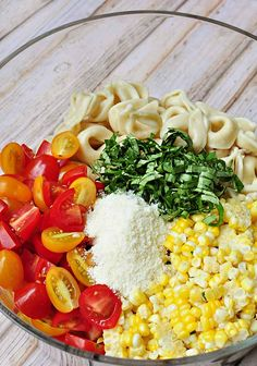 Tortellini Pasta Salad with Tomatoes Basil and Fresh Corn