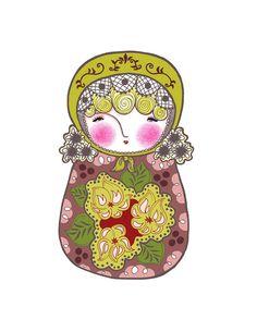 Pretty Matryoshka With a Yellowygreen  Hat  Art Print by pipodoll,