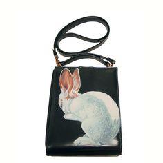 """Hermes the Rabbit"" handpainted purse - vintage dark blue vinyl satchel - one of a kind From NYhop SOLD"