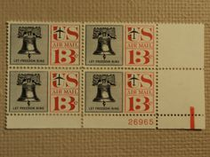 USPS Scott C62 13c Let Freedom Ring Liberty Bell 1961 Mint NH Plate Block -- New