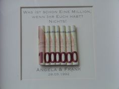 Sie erwerben einen Rahmen in weiß mit individualisierbarem Bild. Das ideale Gel… You buy a frame in white with customizable image. The ideal money gift to give away. Please let us know your name and the date to be entered. Wedding Car, Wedding Favors, Diy Wedding, Wedding Gifts, Creative Gifts, Unique Gifts, Don D'argent, Wedding Present Ideas, Present Gift