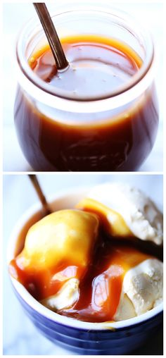 5-Minute Microwave Caramel Sauce -- This sauce is super easy to make, and tastes even better than store-bought! gimmesomeoven.com