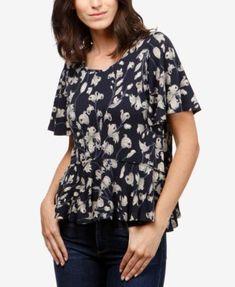 5e55445146776 Lucky Brand Printed Peplum T-Shirt   Reviews - Tops - Women - Macy s