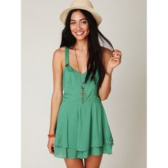 Green Free People Solid Summer Day Romper Size 0