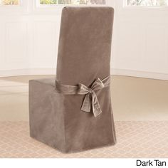 Sure Fit Soft Touch Velvet Long Dining Room Chair Cover
