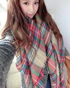 9e16a9a47a3f Mixeshop Large Red Camel Navy Green Plaid Checked Tartan Scarf Wrap Shawl