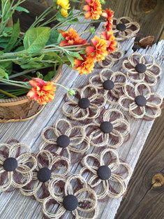 Burlap Daisy Rustic Decor Flower Set of 12  Weddings  by resadavid