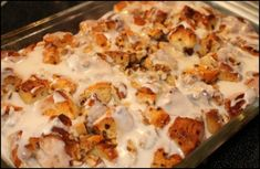 Breakfast cinnamon roll casserole Bake