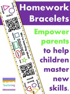 159+ QR code bracelets for kindergarten homework! Empower parents to help their children master new skills at home. Parents scan the QR codes to view a review video and play a simple family game to reinforce the content taught at school that day. Bracelets with QR codes for Math, Science, Sight Words, and more!