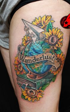 Globe Paper Plane Flower Doctor Who Tattoo - 45 Inspirational Sunflower Tattoos | Art and Design