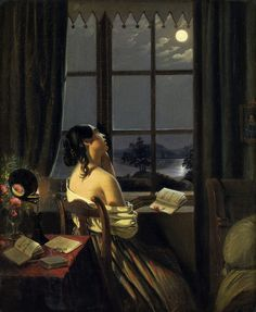 LARGE SIZE PAINTINGS: Johann Peter HASENCLEVER Die Sentimentale 19 Centu...