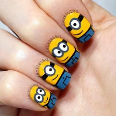 nail art designs braid fashion makeup Minions Nails 2013 2014 Despicable Me 2 Style Nail Art Chic, Cool Nail Art, Cute Nail Art Designs, Pretty Designs, Nail Designs For Kids, Diy Nails, Manicure, Nail Nail, Minion Nail Art