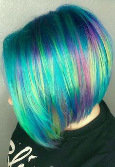 rainbow mermaid angled bob