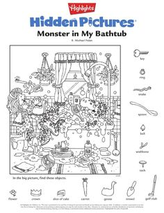 Adult Coloring, Coloring Books, Coloring Pages, Rainy Day Activities, Kindergarten Activities, Hidden Pictures Printables, Hidden Picture Puzzles, Loch Ness Monster, Hidden Objects
