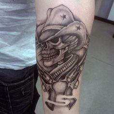 90 Cowboy Tattoos For Men - Wild Wild West Designs - Tattoo Images Skull Tattoo Design, Skull Tattoos, Forearm Tattoos, Tattoo Designs Men, Body Art Tattoos, Tatoos, Tattoo Drawings, Mens Tattoos, Skull Design