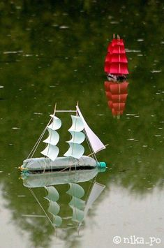 As a kid I used to make sail boats out of bleach bottles - they were never as elegant as these. Boat Craft Kids, Kids Boat, Boat Crafts, Fun Crafts, Diy And Crafts, Paper Crafts, Airplane Crafts, Summer Crafts, Boat Projects