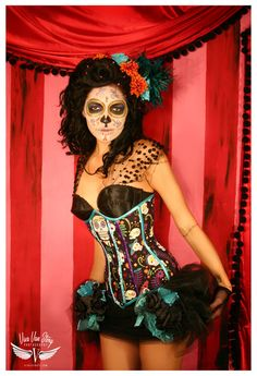 Fantastic circus inspired Día de los Muertos styling. #Day_of_the_Dead #costume…
