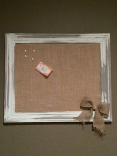 Corkboard covered with burlap